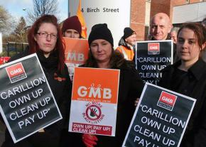 Union members and supporters protest Carillion in 2013
