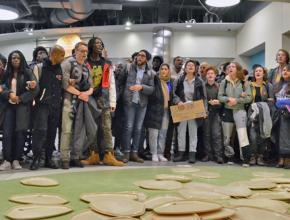 Students at the University of Wisconsin-Madison protest an announced new meal plan
