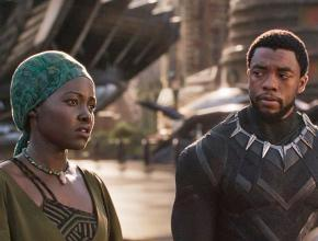 Lupita Nyong'o (left) and Chadwick Boseman star in the film Black Panther