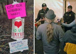 Left to right: Signs at the Village of Hope; park rangers raid the camp