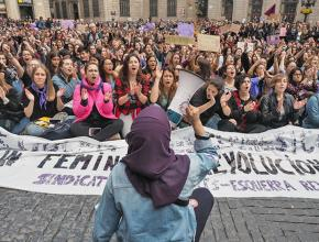 Protesters take to the streets of Barcelona during the International Women's Strike