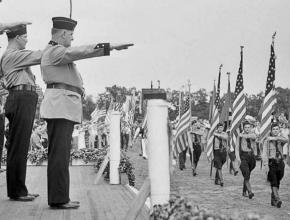 Members of the fascist German American Bund parade on Long Island in 1937