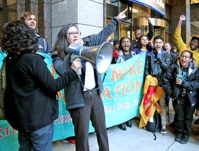 Immigrant rights activist Maru Mora-Villalpando rallies with supporters in Seattle