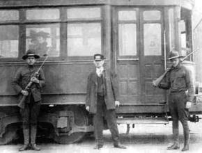National Guard troops patrol a streetcar station during the Kansas City General Strike