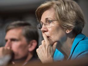 Sen. Elizabeth Warren at a session of the Senate Armed Services Committee