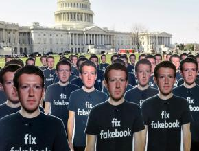 A protest in front of the Capitol when Facebook CEO Mark Zuckerberg testified to Congress