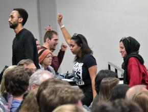 Students protest right-wing speaker Ann Coulter at the University of Colorado Boulder