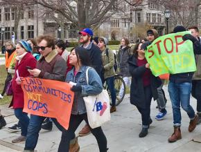 Students march against police brutality at the University of Chicago