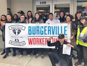 Burgerville Workers Union members celebrate a victory