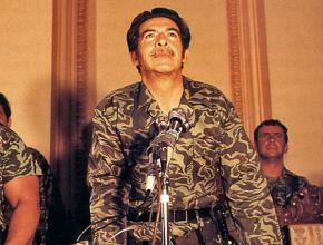 Efraín Ríos Montt speaks shortly after the 1982 coup
