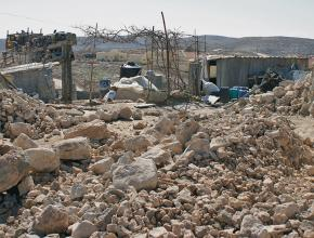 The rubble of a home demolished by Israeli troops in the village of Umm al-Khair