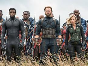 Front, left to right: Chadwick Boseman, Chris Evans and Scarlett Johansson in Avengers: Infinity Wars