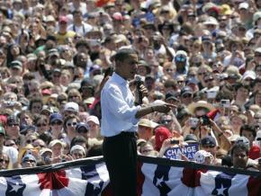 Barack Obama speaks to a crowd in Portland, Ore.