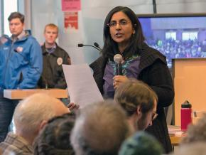 Seattle City Council member and socialist Kshama Sawant addresses a town hall on affordable housing