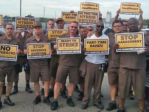 UPS workers rally during a day of action against any concessions to UPS