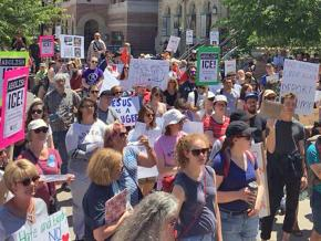 Rallying against Trump's attacks on immigrant families in Madison, Wisconsin