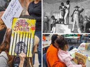 Clockwise from left: Protesting family separation; a slave auction; prison visit