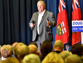 Ontario's conservative Premier-designate Doug Ford speaks to a crowd of supporters in Sudbury