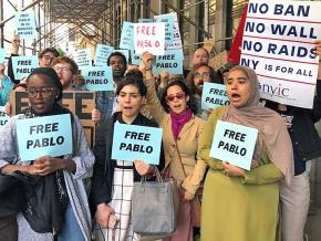 Supporters rally against the detention of Pablo Villavicencio in New York City