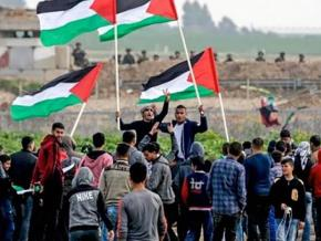 Palestinians in Gaza protest for their right of return in the face of Israeli military repression
