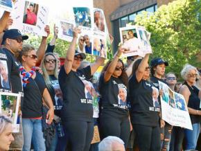 Jason Washington's family at a Portland State University vigil after his killing