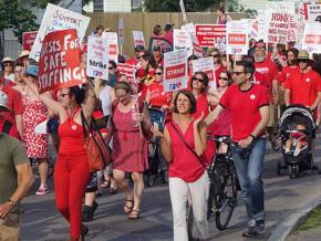 UVM nurses on the march at the end of their two-day strike