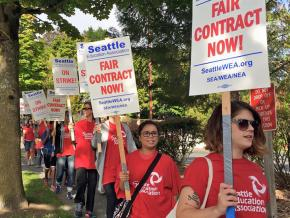 Seattle educators on the picket line during the 2015 strike