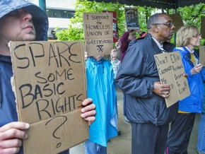 Homeless Union of Greensboro supporters protest a reactionary ordinance
