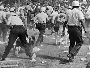 Chicago police assault antiwar protesters during the 1968 Democratic convention