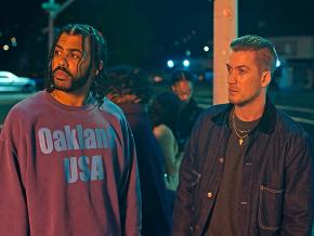 Actors Daveed Diggs (left) and Rafael Casal in Blindspotting