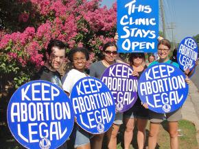 Pro-choice activists defend the Family Reproductive Health clinic in Charlotte, North Carolina