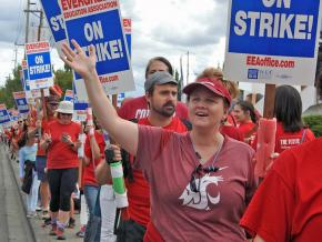 Striking teachers walk the picket line in Vancouver, Washington