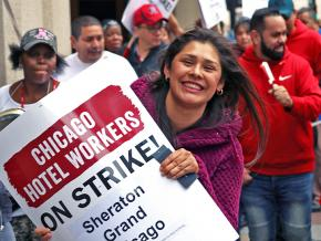 Striking hotel workers hit the picket line in downtown Chicago