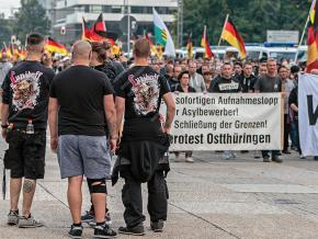 Fascists march through the streets of Chemnitz, Germany