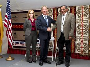 Former Navajo Nation President Ben Shelly (right) meets with representatives of Raytheon