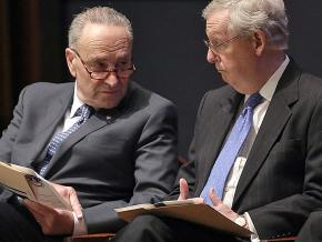 Senate Minority Leader Chuck Schumer (left) and Majority Leader Mitch McConnell