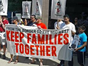 Immigrant rights activists protest ICE terror in Kenosha County, Wisconsin