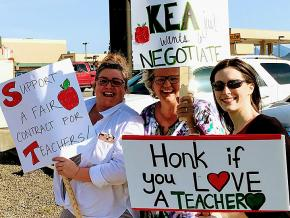 Teachers rally for a fair contract in Ketchikan, Alaska
