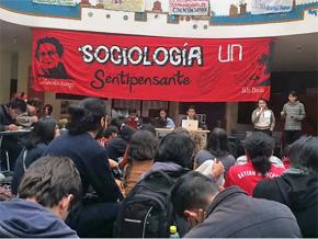 Students in the Human Sciences department participate in a strike assembly