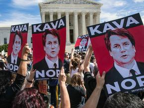 Protesters oppose Kavanaugh's nomination outside the Supreme Court