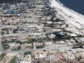 Devastation in the wake of Hurricane Michael in Mexico Beach, Florida