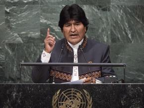 Bolivian President Evo Morales addresses the United Nations General Assembly