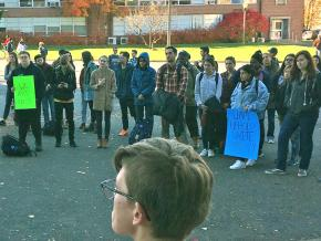Students protest racist attacks at the University of Massachusetts Amherst