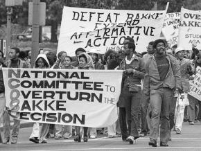 Protesters march in defense of affirmative action after the Bakke ruling in 1978