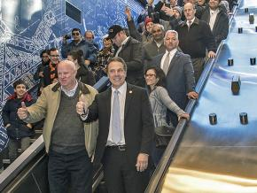 Gov. Andrew Cuomo (foreground) pays a visit to the New York City subway