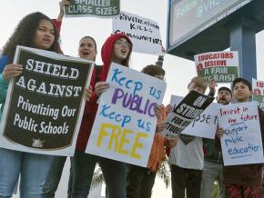 Students at Venice High School rally on the picket line with striking teachers