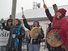 Wet'suwet'en activists protest the TransCanada pipeline