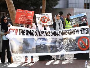 Activists rally against the U.S.-backed war on Yemen in San Francisco