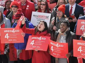Teachers rally for education justice at the Virginia State Capitol
