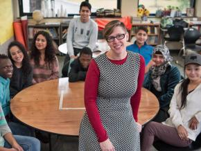Mandy Manning with her students at the Joel E. Ferris High School in Spokane, Washington